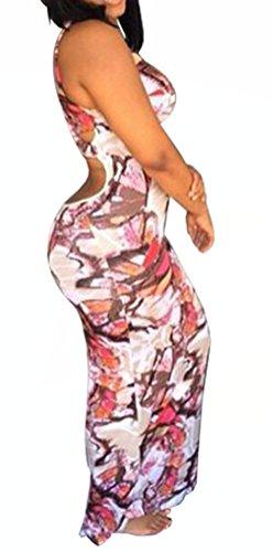 a7728277386 Blansdi Damen Sommer Elegant Bodycon Partykleid Maxileid Ärmellos  Schulterfrei Straps Paket Hüfte Blumen Druck Festlich Lang ...