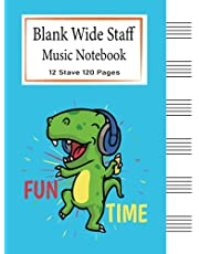 Blank Wide Staff Music Notebook For Kids: 6 Staves Per Page | Manuscript Paper | Staff Paper Notebook | Perfect beginner music book for young musicians, composers or songwriters