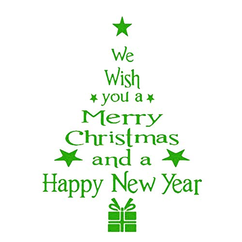 Christmas Tree Home Room Decor Wall Sticker Letters Ornaments Xmas Sign to Celebrate The Holidays Wall & Door Decoration (Green)