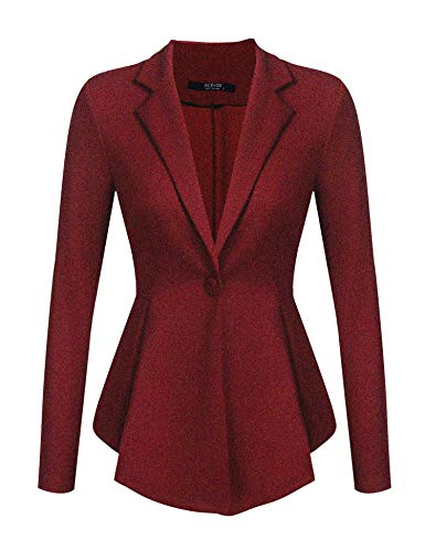ACEVOG Blazers for Women Classic One Button Long Sleeve Blazer with Full Lining A Wine Red L ()