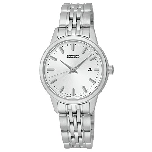 Seiko Quartz White Dial Silver Plated Stainless Steel Women's Watch SUR837 (Seiko Military Kinetic)