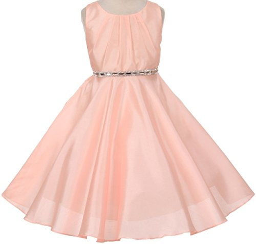 Little Girls Shantung Silk Stone Belt Flowers Girls Dresses Peach 4 (K63K85)