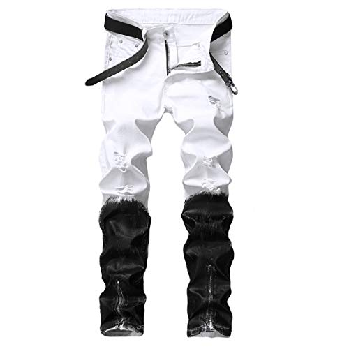 - YUNCLOS Men's Stretch Biker Ripped Jeans with Zipper Straight Fit Denim Pants White