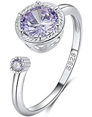 Qings Birthstone Ring 925 sterling zilver, verstelbare open edelsteen ring voor meisjes geboortesteen open ring sierlijke belofte ringen voor vrouwen