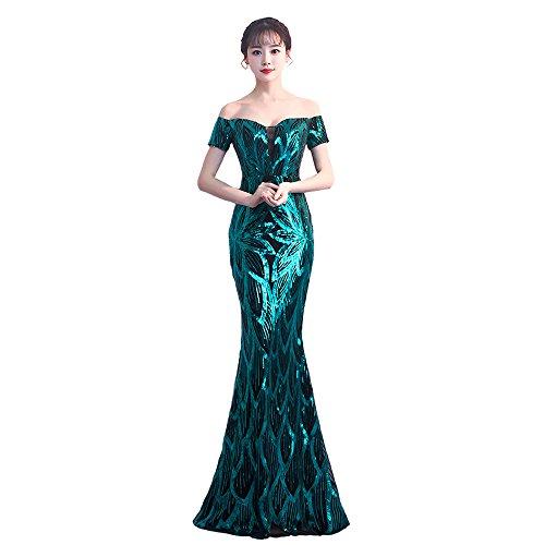 Rillsiy 2018 Vestidos De Noche del Banquete De La Correa De La Correa De Las Mujeres Elegantes Hombros Es Una Palabra Fishtail Host Dress Dresses,Green,M