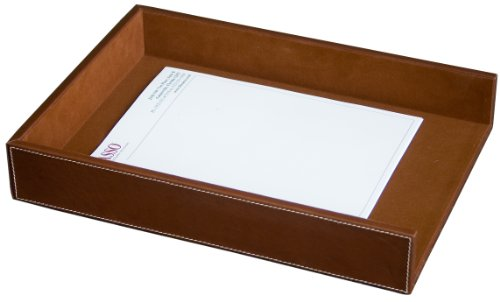 Dacasso Rustic Brown Leather Letter Tray, Legal Size