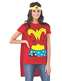 Rubie's Costume Dc Comics Wonder Woman T-Shirt with Cape and Headband, Red, X-Large Costume