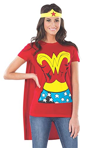 (DC Comics Wonder Woman T-Shirt With Cape And Headband, Red, Medium)