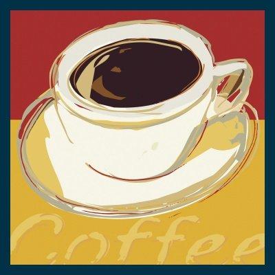 Bild mit Rahmen Rod Neer - Coffee II - Holz blau - 50 x 50cm - Premiumqualität - Cuisine - Deli's - Cult - Kinder - Comic - Pop-
