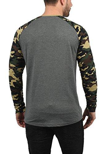 Coton Cajus Camouflage Manches Rond 100 T À shirt Longues 8236 Homme solid Melange Grey Encolure Imprimé Y4PdqY