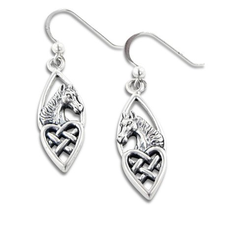(Celtic Knot Heart and Horse Head Sterling Silver Earrings)