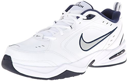 NIKE Men's Air Monarch IV (4E) Athletic Shoe, white/metallic silver - midnight navy, 14.0 4E US