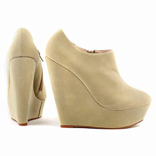 Talons Bottes Haut Plateforme Nouveaux Bottines Hiver Abricot Automne Hiver bas Bottes Femmes Mode Talon WanYang Chaussures c0Bq6IAq