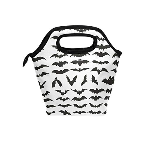 HEOEH Halloween Bat Clip Art Lunch Bag Cooler Tote Bag Insulated Zipper Lunch Boxes Handbag for Outdoors School Office -