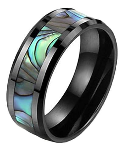 8mm Mens Ceramic Wedding Band Ring Abalone Shell Inlay Polished Finish Black£¨9£ (Abalone Inlay Band Ring)