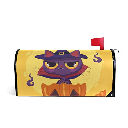 Halloween Cat Sorcerer Magnetic Mailbox Cover Wraps Post Letter Mail Box Cover Decor Standard Large Size(21x18/25.5x20.8In) ()