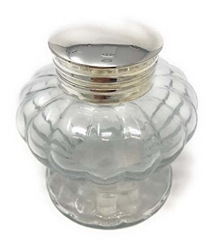 Pedestal Glass Inkwell, Clear Swirled, By Madison Bay 3Diameter X 3.25H - Pedestal Dip