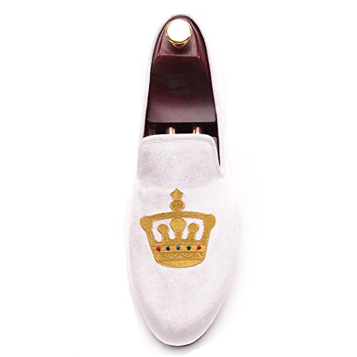 Loafer Velvet Slip White HI Slipper Shoes Toes Loafer on amp;HANN Embroidered Men's Smoking Round 1OtUqUIwY