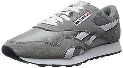 Reebok Men's Classic Sneaker, Platinum/Jet Blue, 6.5M