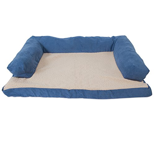 Petmate Aspen Pet Bolstered Ortho Pet Bed, 40 x 30, Assorted Blue/Brown Dog Ortho Bolster