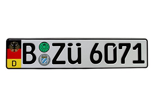 German Euro Plate with German Flag & Coat of Arms - Random Characters