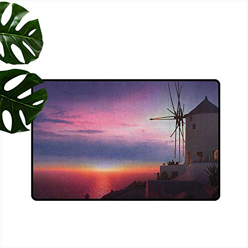 Windmill,Floor Mats Beautiful Oia Village Santorini Island Greece Colorful Sky Idyllic Aegean 36