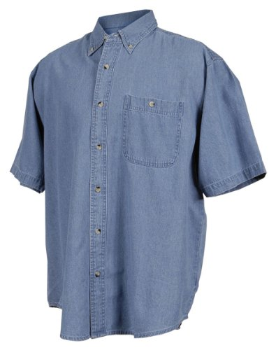 Stonewashed Denim Shirt - Tri-Mountain Men's 7 oz Denim Stonewashed Shirt w/Pocket