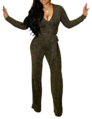 b9a911576adf FairBeauty Women s Sexy Party Jumpsuits One Piece Deep V Neck Long Sleeve  Pants with Belt