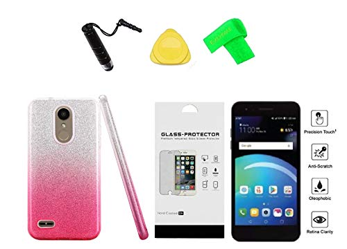 LG Rebel 4 LML212VL / LML211BL 2-Tone TPU Flexible Skin Cover Phone Case + Tempered Glass + Extreme Band + Stylus Pen + Pry Tool (Pink)