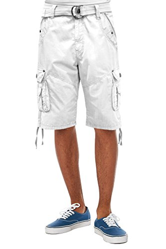 Mens Super Comfy Poplin Belted Cargo Shorts ASH44088 White 36 (White Cargo Shorts)