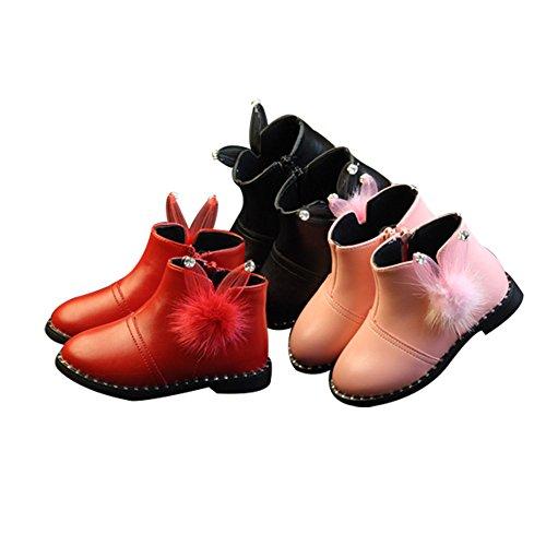 Baby Mädchen Winterschuh Schnee Stiefel KleinKinder Süß Pelzstiefel Stiefel einzelne Schüler Prinzessin Schuhe Rosa Rot Rosa Zwei Baumwolle