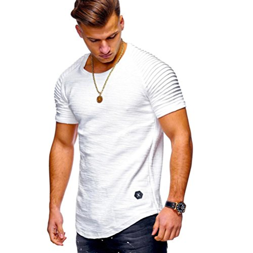 iYYVV Men Tee Shirts Slim Fit O Neck Short Sleeve Tops Muscle Cotton Casual -