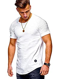 Limsea Men Tee Slim Fit O Neck Short Sleeve Muscle Cotton Casual Tops Blouse Shirts