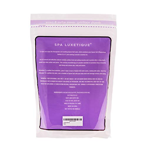 Spa Luxetique Premium Epsom Salt for Foot Soak, 2 lbs Magnesium Sulfate USP Bath Salt Formula, Sleep Well with Calming Lavender Essential Oil by spa luxetique (Image #5)