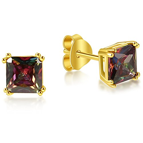 Lanroque 14K Gold Sterling Silver 6mm Princess Cut Mystic Topaz Stud Earrings for Men and Women by Lanroque