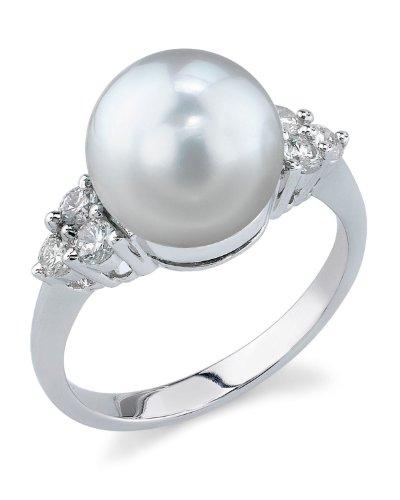 - 10mm White South Sea Cultured Pearl & Diamond Sea Breeze Ring in 14K Gold