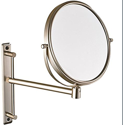 (GURUN Two-Sided Swivel Wall Mount Magnifying Mirror brushed nickel with 10x Magnification)