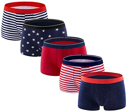 - ADOLPH Men's Boxer Briefs 5 Pack No Ride-up Breathable Comfortable Cotton Sport Underwear