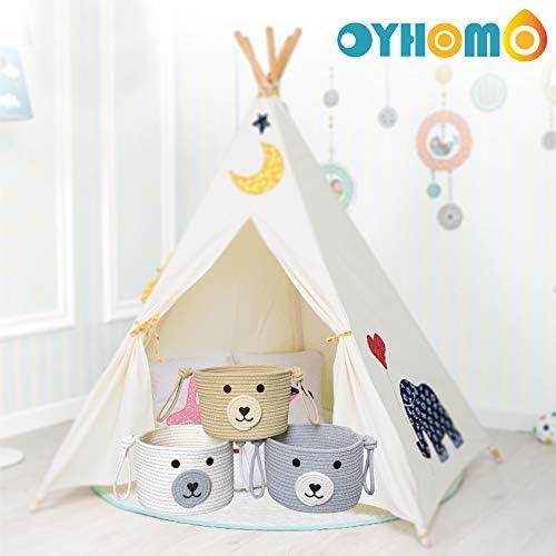 Kinderzimmer Home Decor Khaki OYHOMO Baumwoll Seil Korb Baby Aufbewahrungskorb Niedlicher Hunde Aufbewahrungsbox Kleiner Container Organizer f/ür Spielzeug