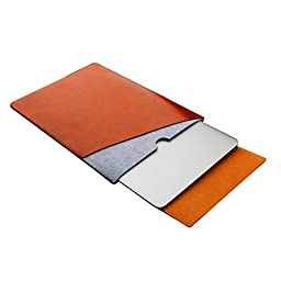 ELEOPTION Ultra Leather Macbook Sleeve Mircrofiber Laptop Notebook Carry Bag Case With a Flip Pad (MacBook 12 inch, Brown)