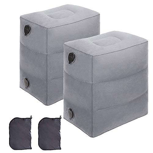 2 Pack Travel Pillow for Kids, Travel Foot Rest Pillow, Inflatable Footrest Pillow for Foot Rest on Airplanes, Cars, Trains, Office Napping, Airplane Bed for Kids & Toddlers to Lay Down (Grey-2 Pack)