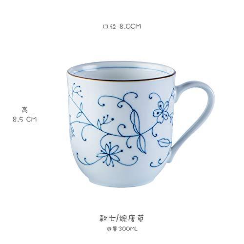 MAKEBEIZI Tazas de café Taza Taza Taza teñida en Azul Taza de té en Color glaseado Azul y Blanco Textura de Taza de Oficina en casa Buena 300 ML da9391
