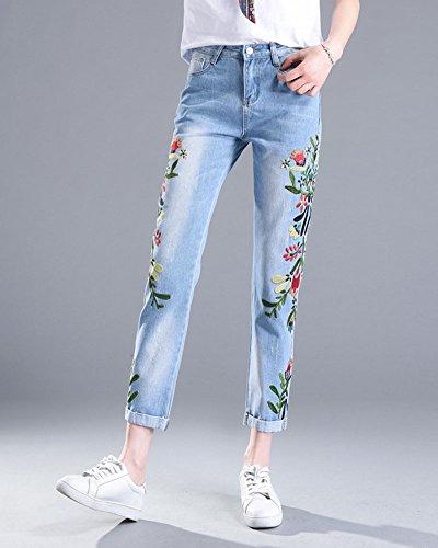 Slim Cónicos Pantalones Mujer Pantalones De Pantalones Skinny Zarco Rectos Jeans Fit QitunC Bordado Elástico Rosas 8SwxOOqZp