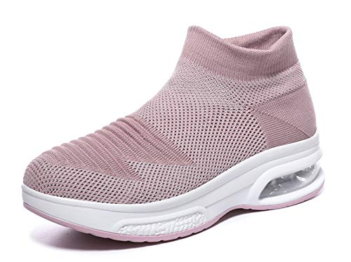 TSIODFO Summer Casual Shoes for Women Breathable mesh Athletic Walking Sneakers Ladies Sock Gym Workout Sport Trail Tennis Shoe Pink Size 7 (A12-pink-37)