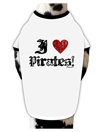 [TooLoud I Heart Pirates Dog Shirt White with Black Medium] (Somali Pirate Costume)