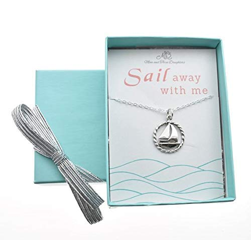 Girl's, Teen's Or Woman's Sailboat Charm Pendant In Sterling Silver On An 18