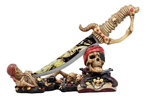 Pirate Skeleton Figurine (Ebros Pirate Buccaneer Skeletons Letter Opener Figurine Set With Dagger Knife Dead Man Tells No Tales Graveyard Lair of Thieves)