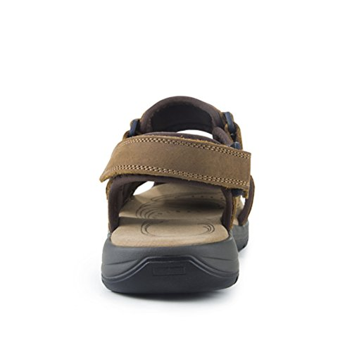 Outdoor Casual Walking Men's New Brown Shoes Shoes Size Breathable Shoes A Khaki HUAN 2018 Beach Leather Color 43 Sandals for OvwIn8wqR