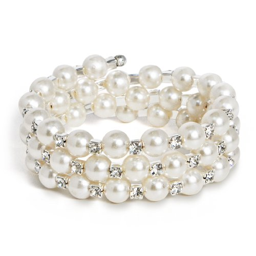 Katie's Style Silvertone Bridal 3-Row Wr - 3 Row Stretch Pearl Bracelet Shopping Results