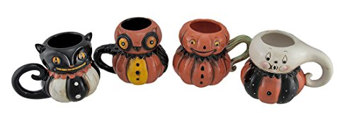 Pumpkin Peeps 4 Piece Set of Vintage Style Halloween Ceramic Mugs -